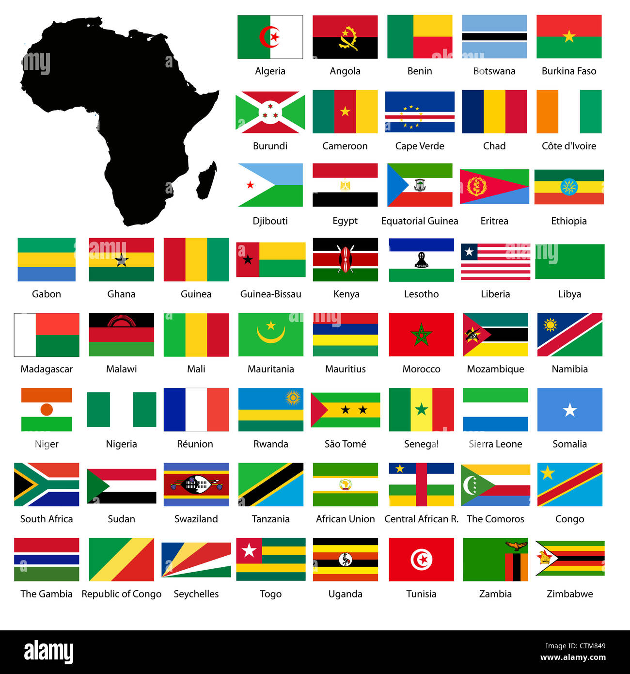 Map Of Africa With Flags.African Flags And Continent Map Stock Photo 49617913 Alamy