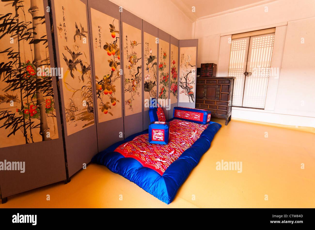 Recreation Of Korean Noble Man S Living Room Namsangol Hanok Stock Photo Alamy