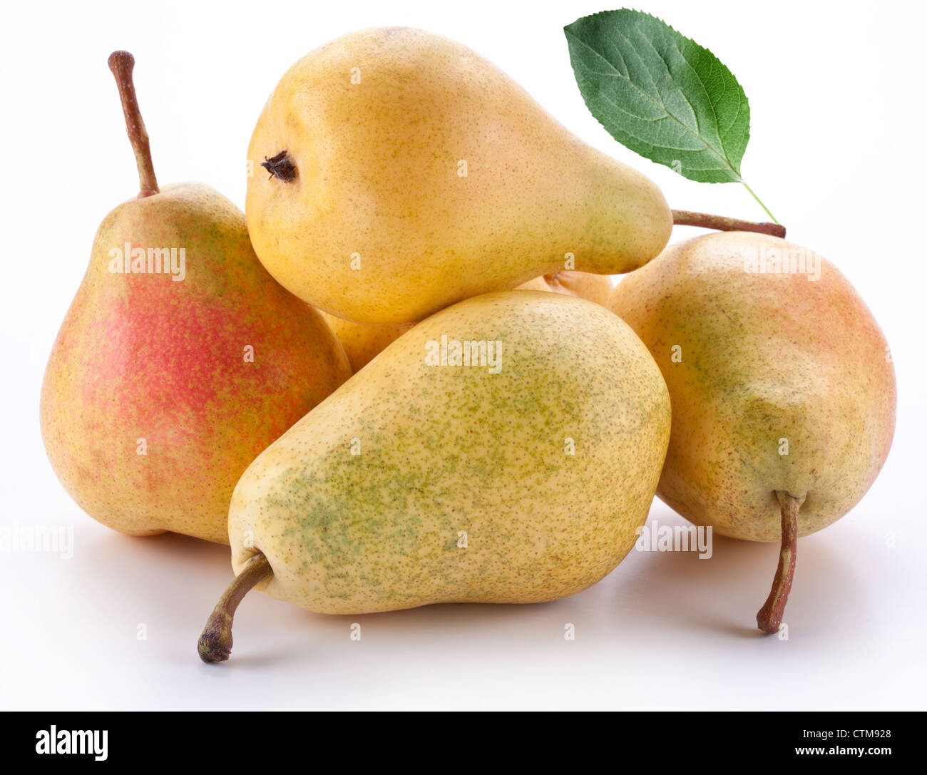 Pears on a white background - Stock Image