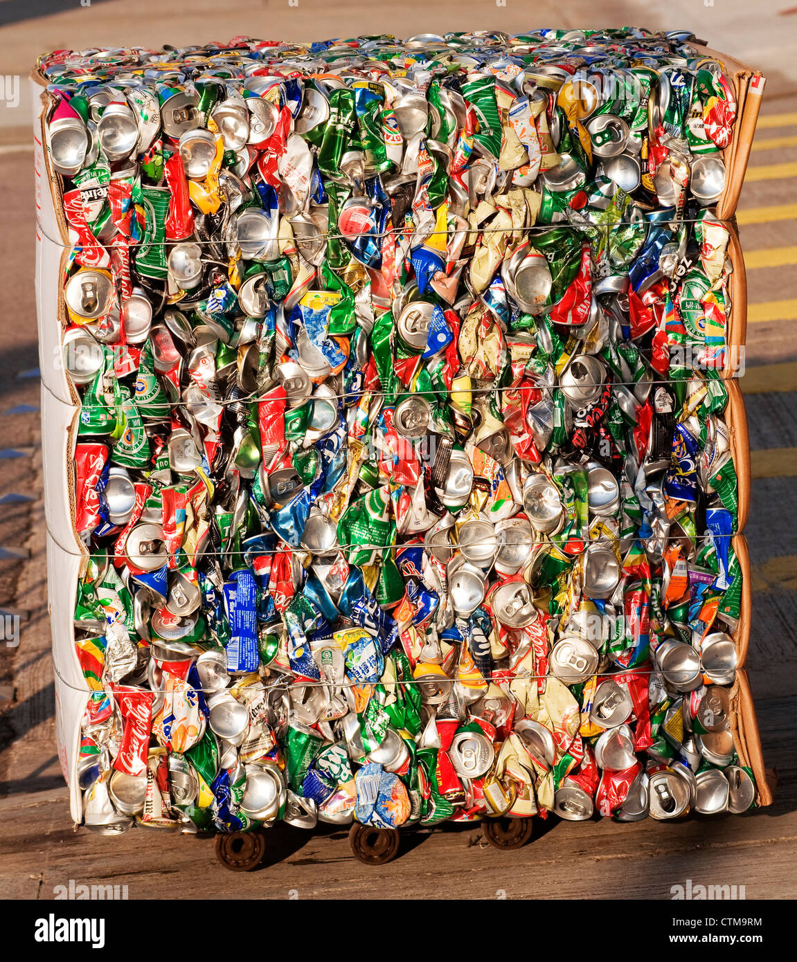 Crushed aluminum cans ready to be recycled, Hong Kong, China. - Stock Image