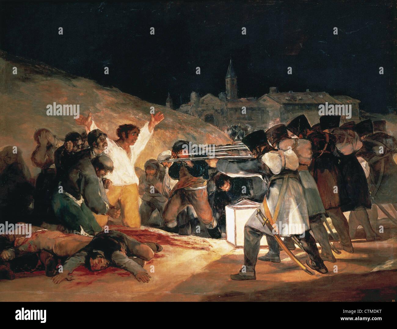 Francisco de Goya (1746-1828). Spanish romantic painter. The Third of May 1808. Oil on Canvas, 1814. Prado Museum. - Stock Image