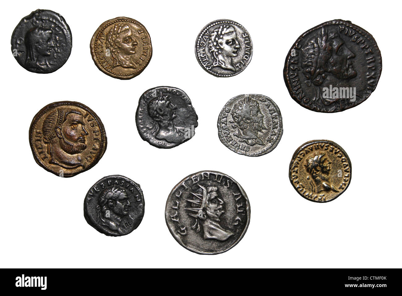 Cut-out Of Replica Roman Coins Stock Photo