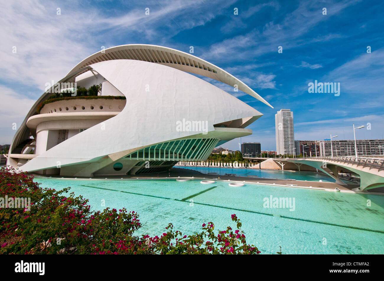 Palau de les Arts Reina Sofia, Ciudad de las Artes y las Ciencias (City of Arts and Sciences), Valencia, Spain - Stock Image
