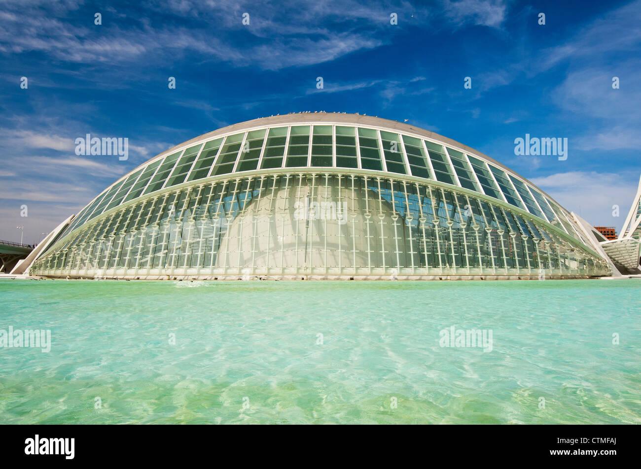 Hemisfèric Planetarium, Ciudad de las Artes y las Ciencias (City of Arts and Sciences), Valencia, Spain - Stock Image