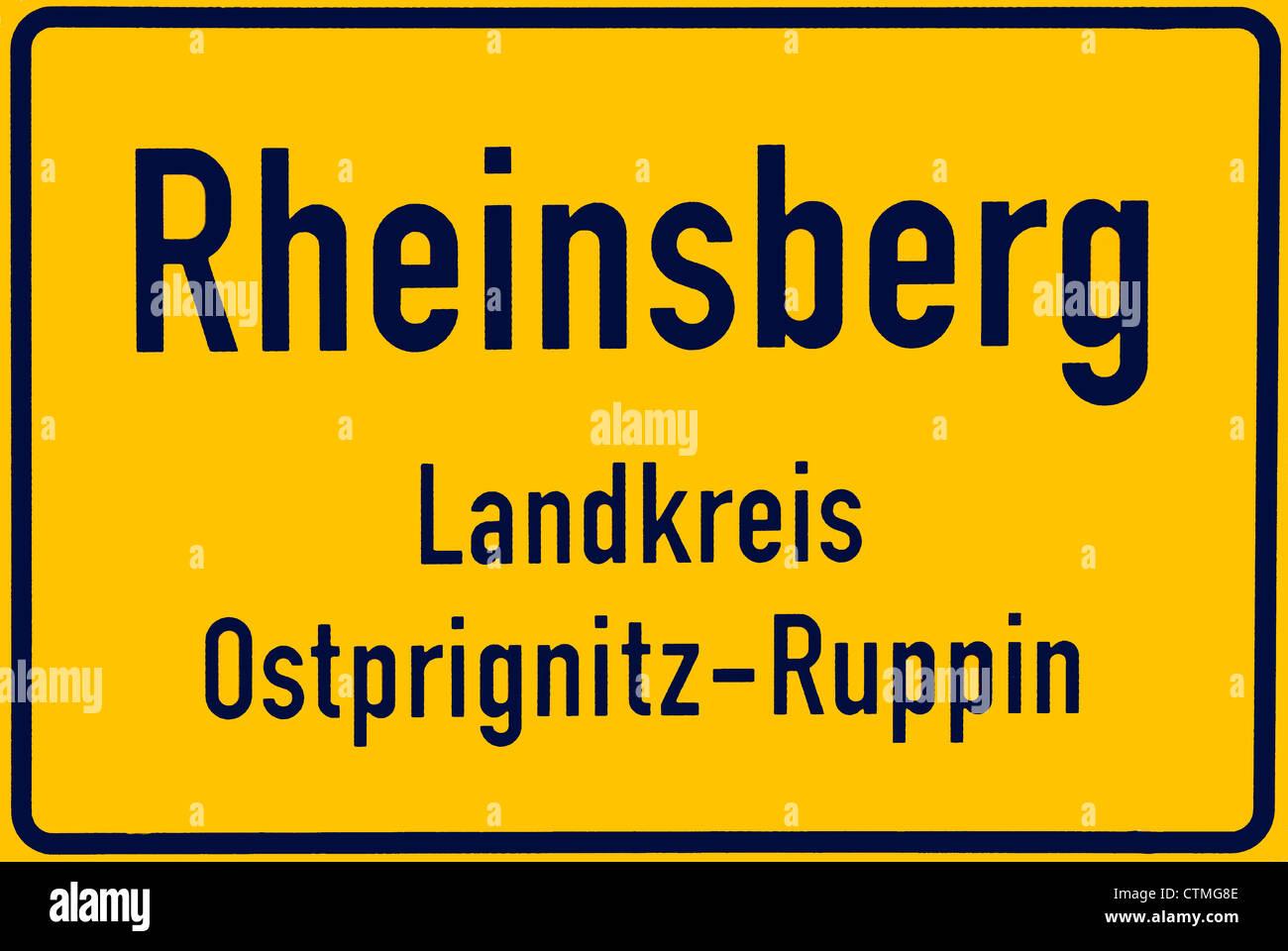 Place name sign of Rheinsberg in Brandenburg. - Stock Image