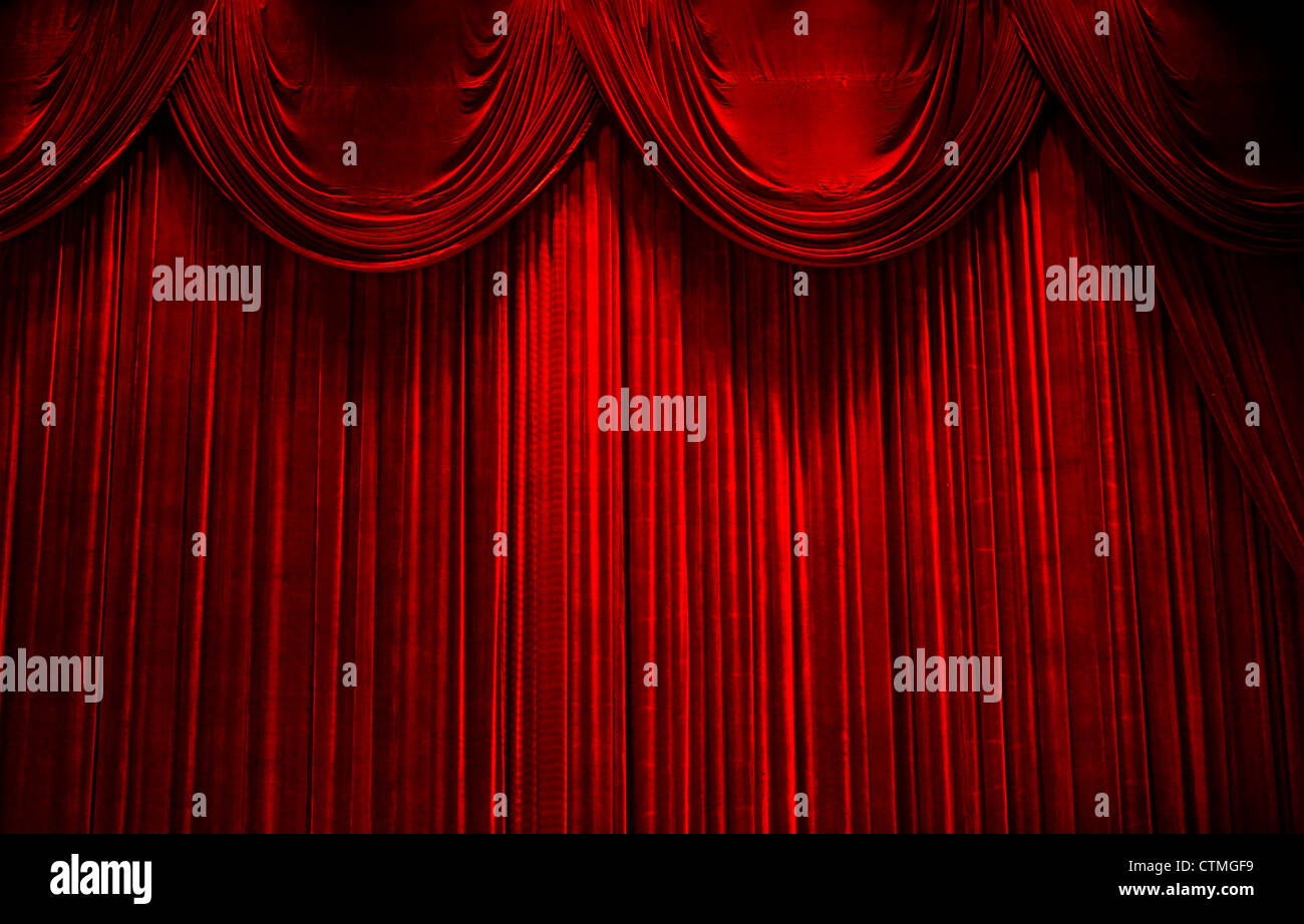 Red Velvet Stage Theater Curtains Stock Photo 49624493 Alamy
