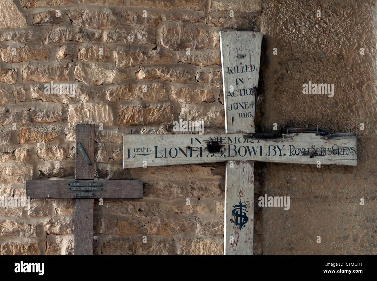 First World War battlefield crosses. - Stock Image