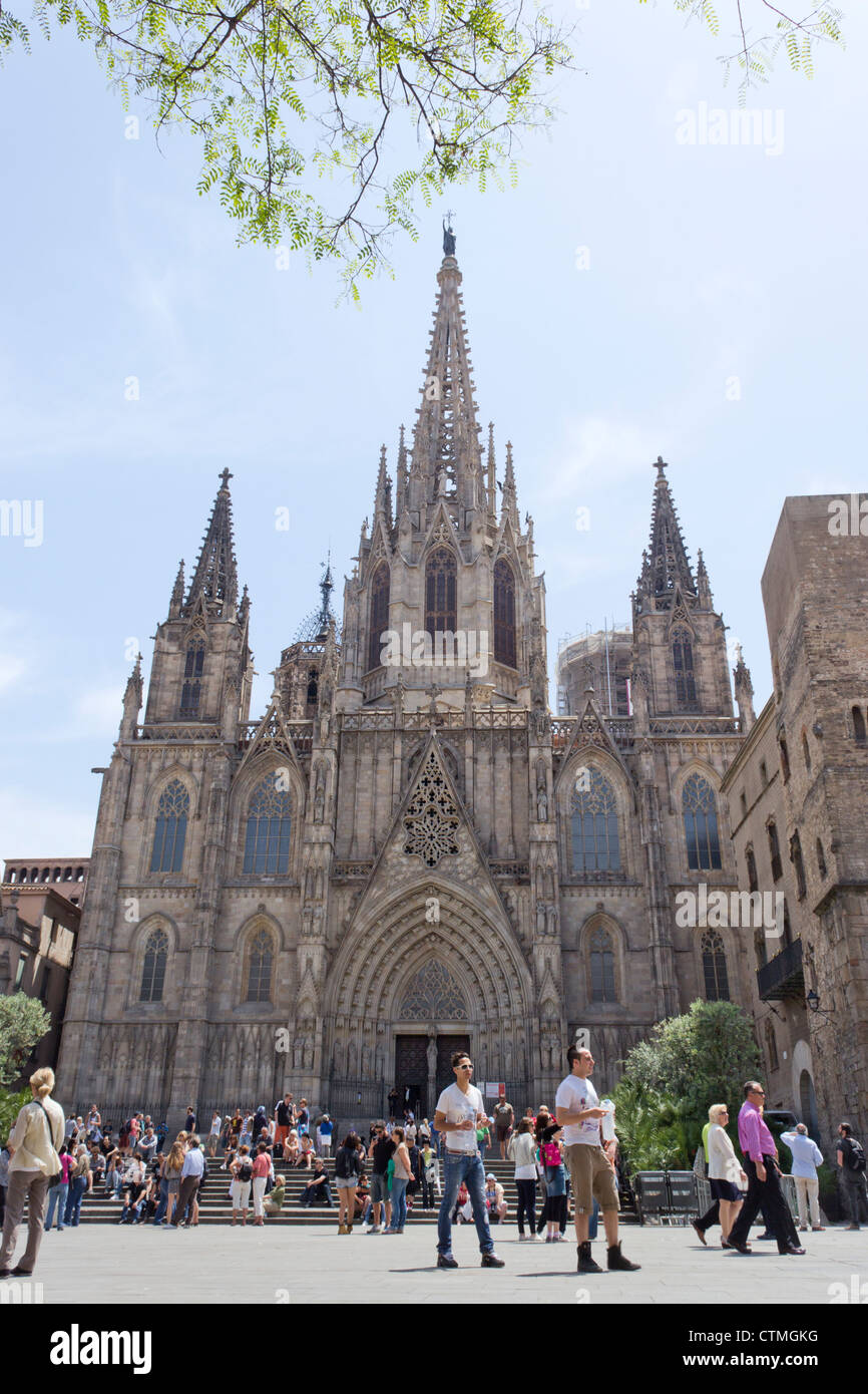 Barcelona, Spain. The Cathedral of the Holy Cross and Saint Eulalia, aka Barcelona Cathedral. - Stock Image