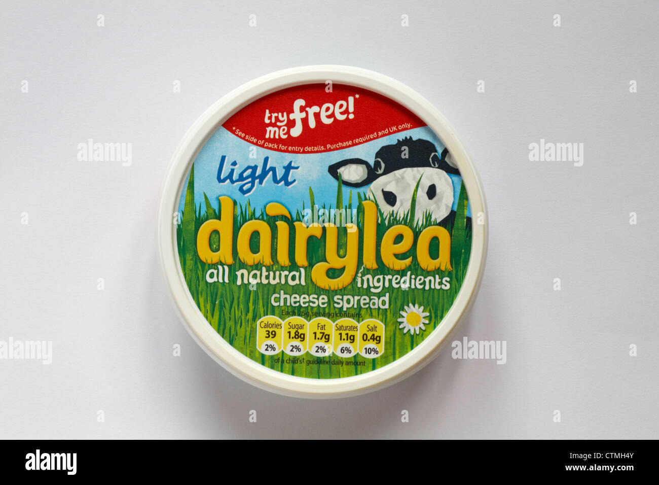 Tub of light dairylea all natural ingredients cheese spread isolated ...
