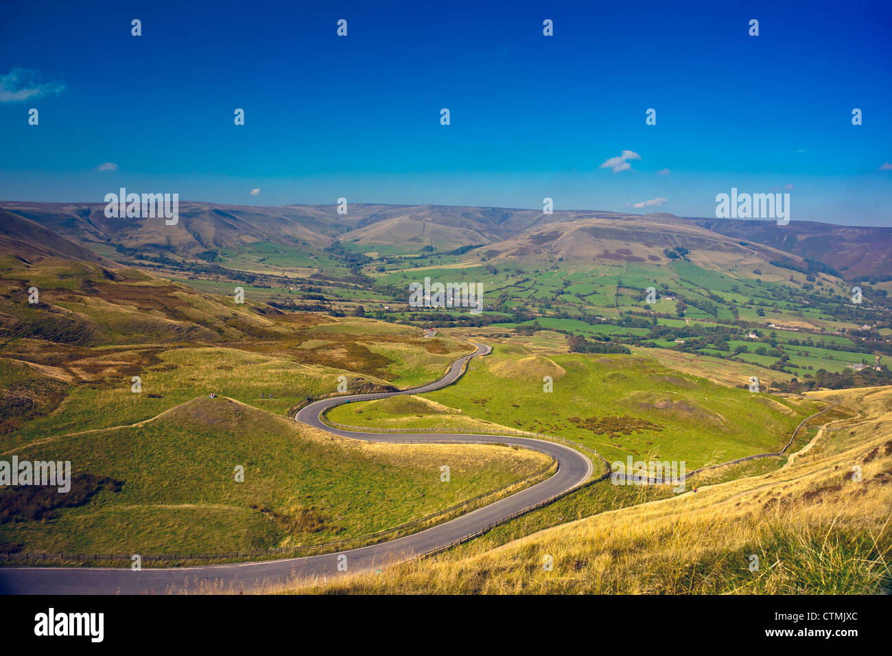 Vale of Edale and Kinder Scout from the summit of Mam Tor in the Peak District National Park Derbyshire England - Stock Image