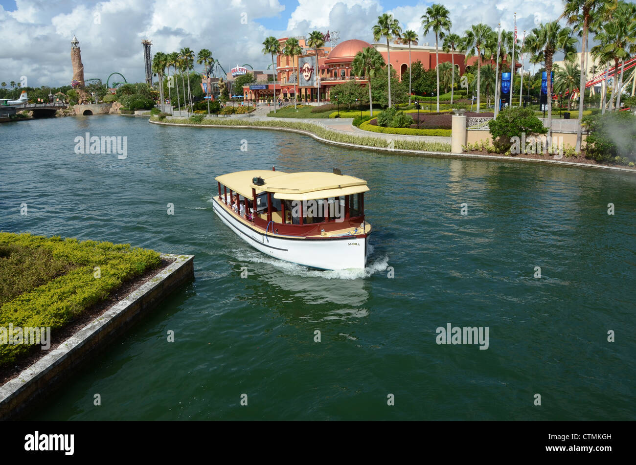 A Water taxi's that take guests staying at the on-site hotels at Universal Orlando to City Walk, and the Park - Stock Image