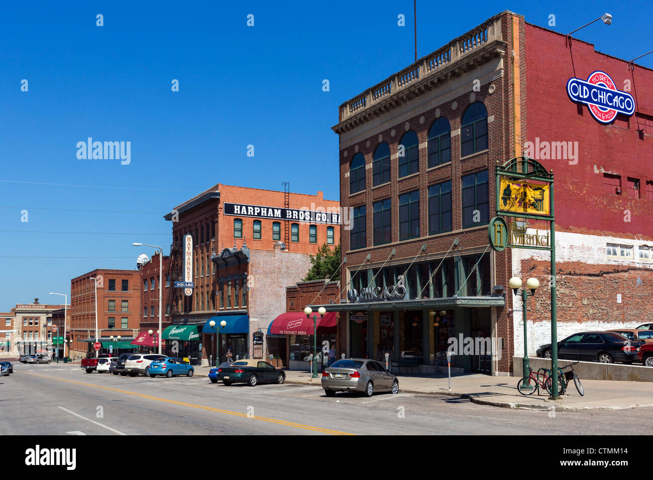 Historic buildings on P Street in the Haymarket district, Lincoln, Nebraska, USA Stock Photo