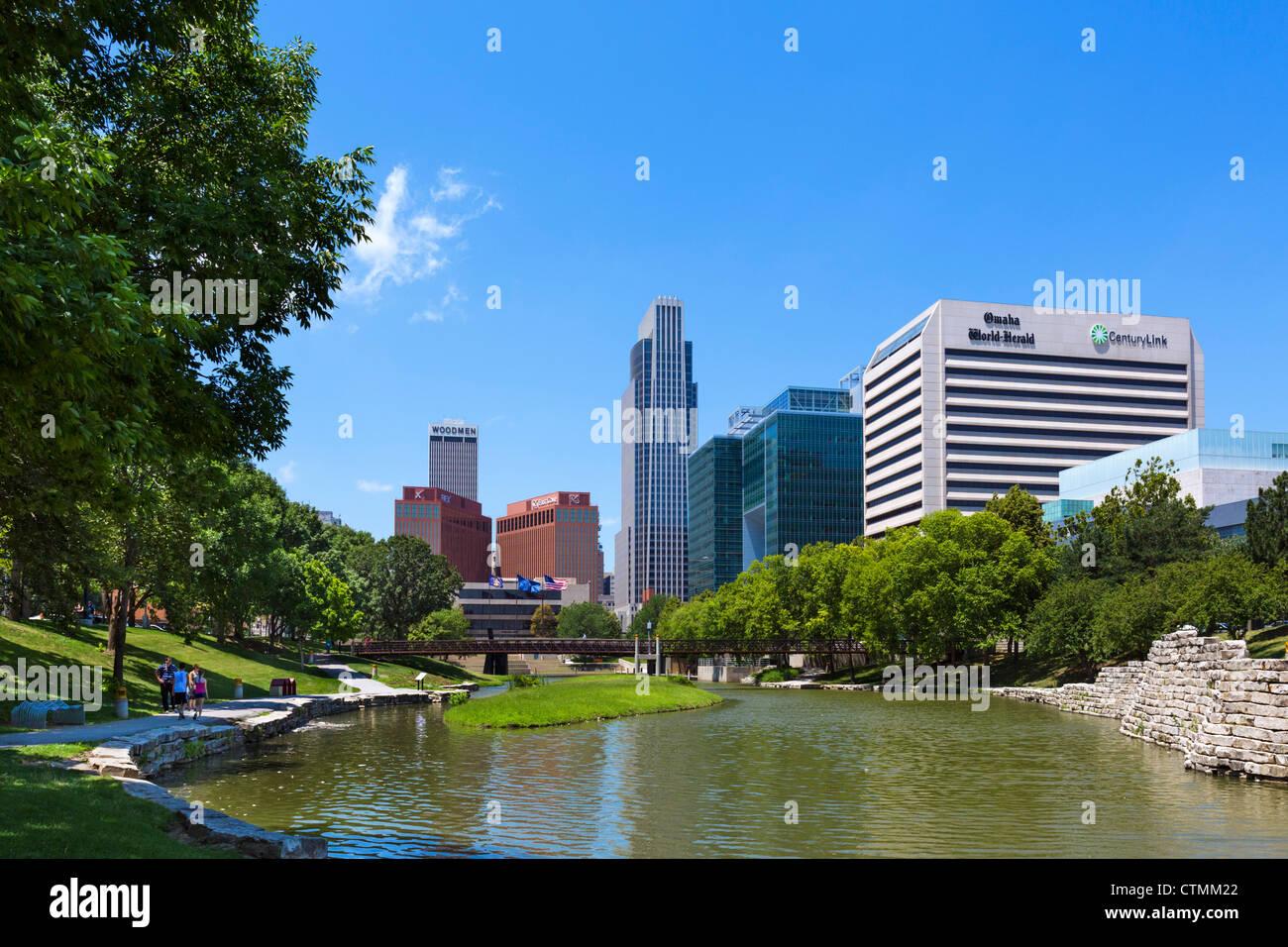 The city skyline from Gene Leahy Mall (also known as Central Park), Omaha, Nebraska, USA Stock Photo