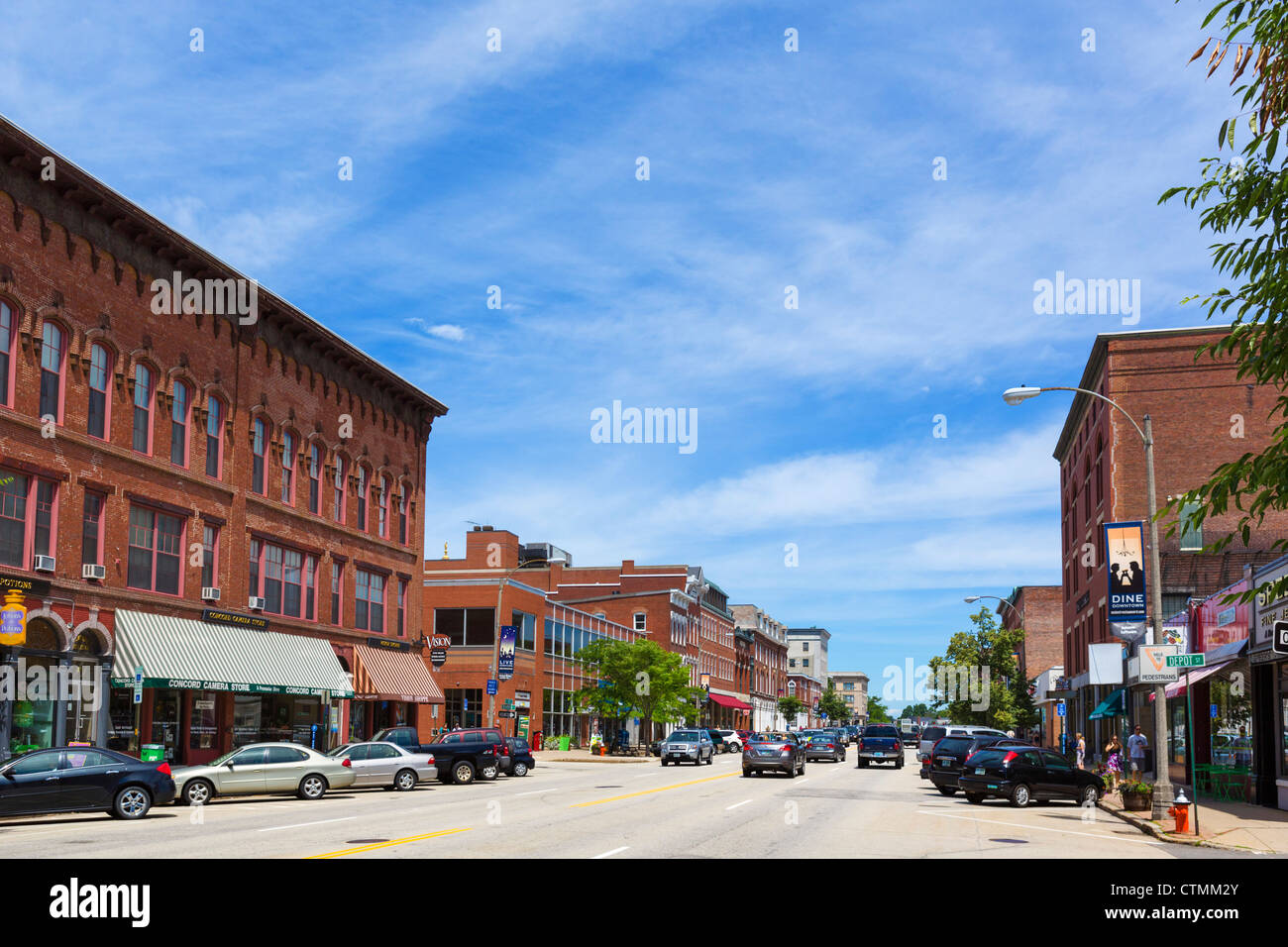Historic buildings on Main Street in downtown Concord, New Hampshire, USA - Stock Image
