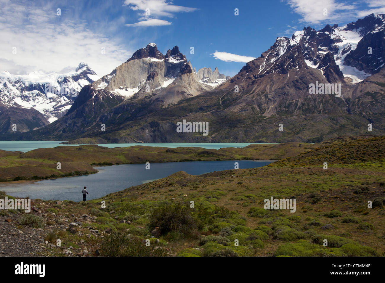 View of Los Cuernos over Lago Nordenskjold, Torres del Paine National Park, Patagonia, Chile - Stock Image