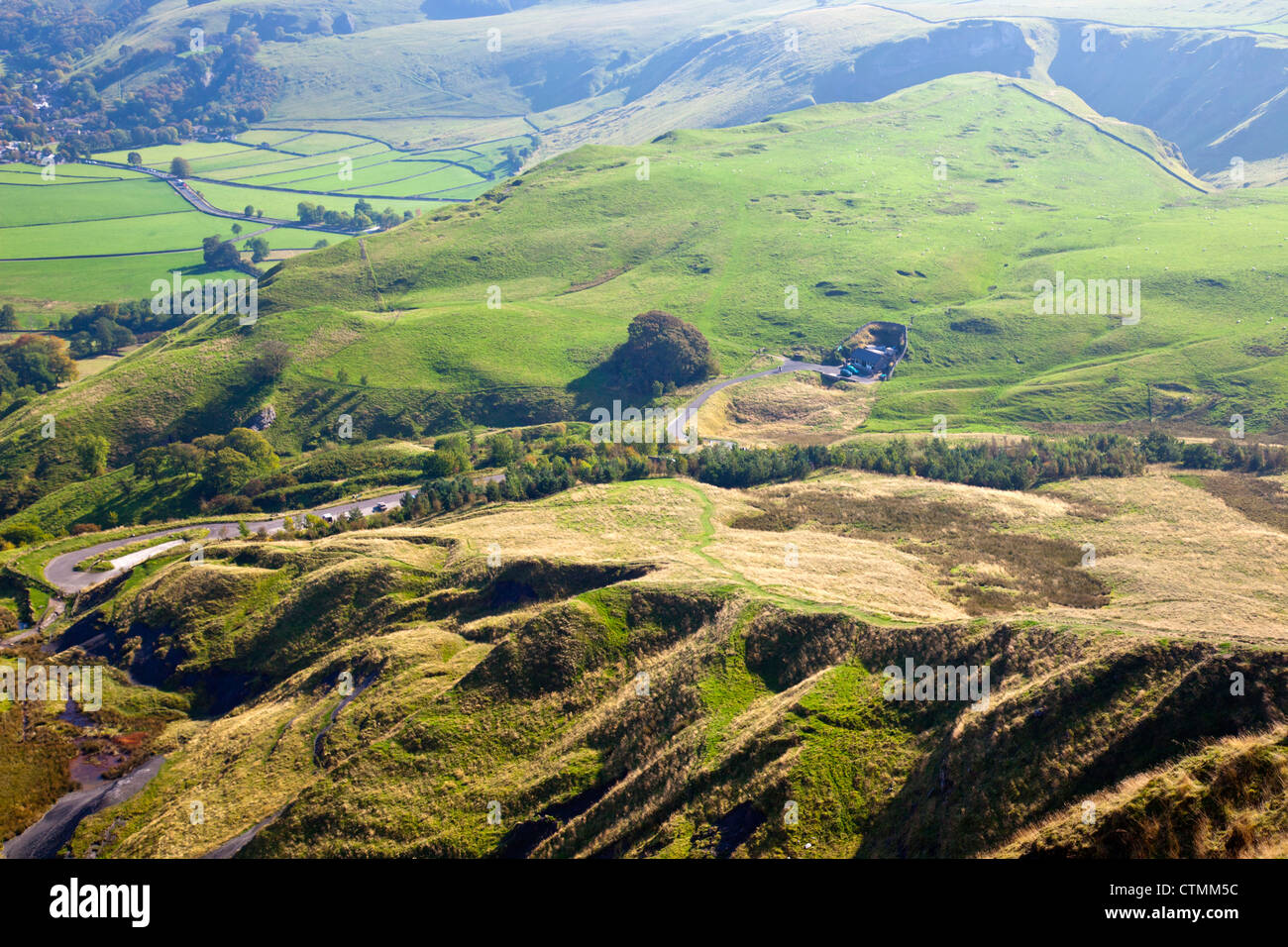 The landslips and the Blue John mine below Mam Tor - the shivering mountain -  Peak District National Park Derbyshire - Stock Image