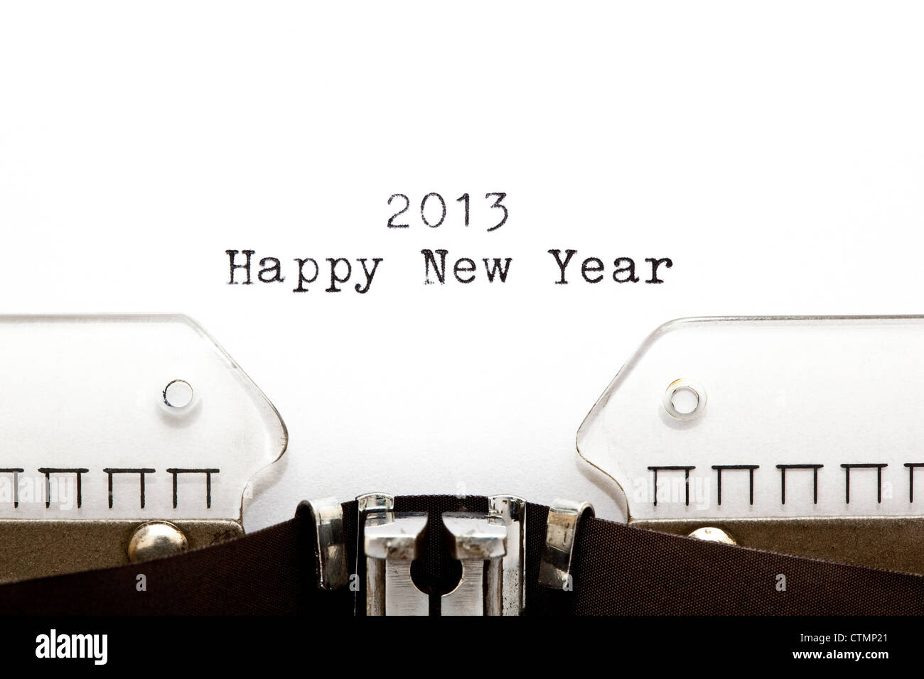 Concept image with 2013 Happy New Year written on an old typewriter - Stock Image
