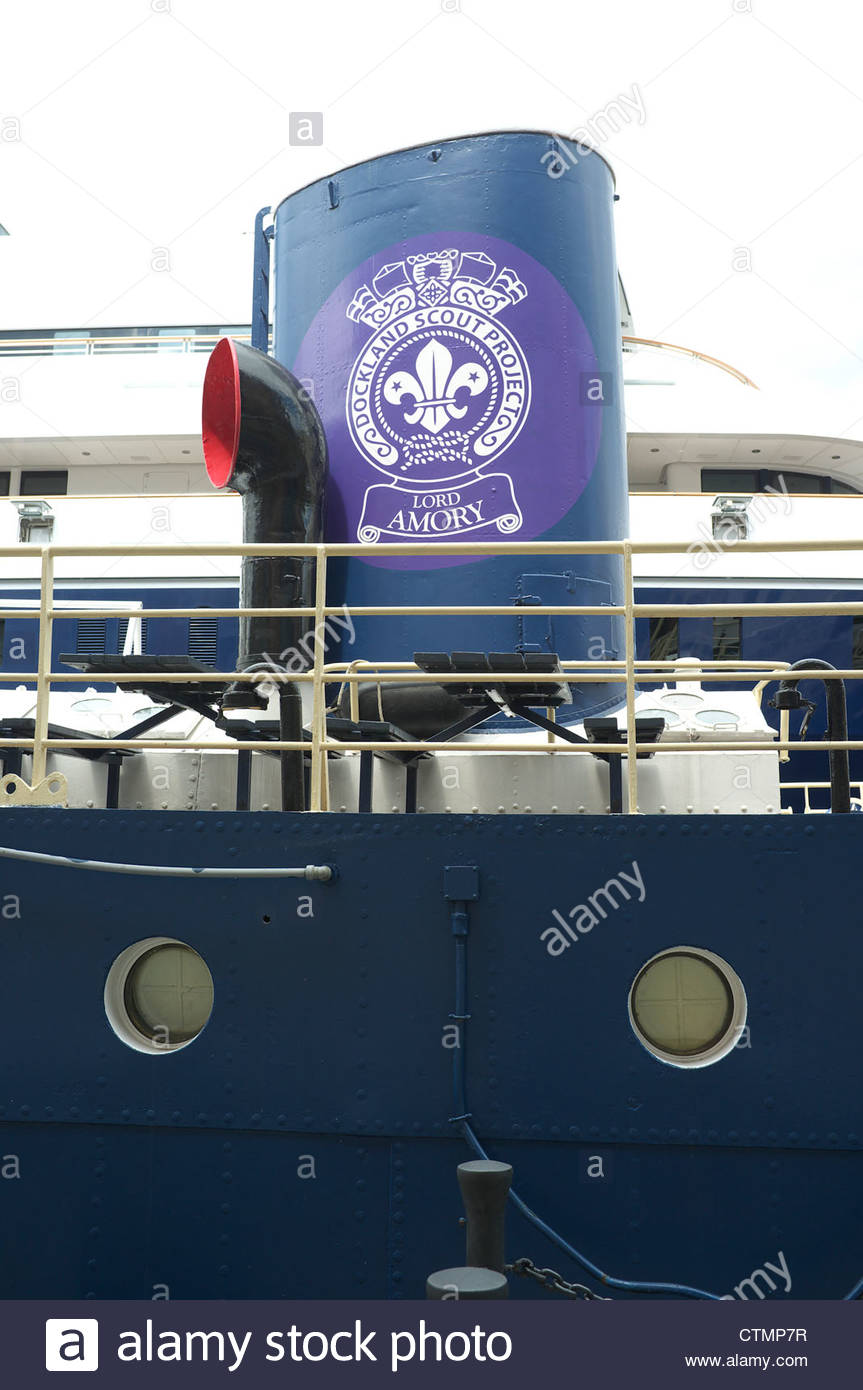 The funnel of the Lord Amory scout activity ship, in London's Docklands, UK. - Stock Image