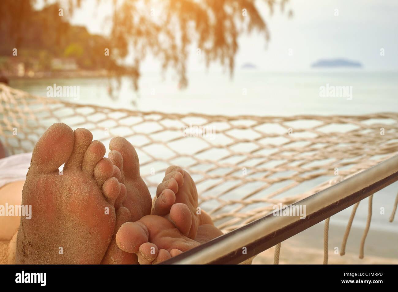 couple n hammock - Stock Image