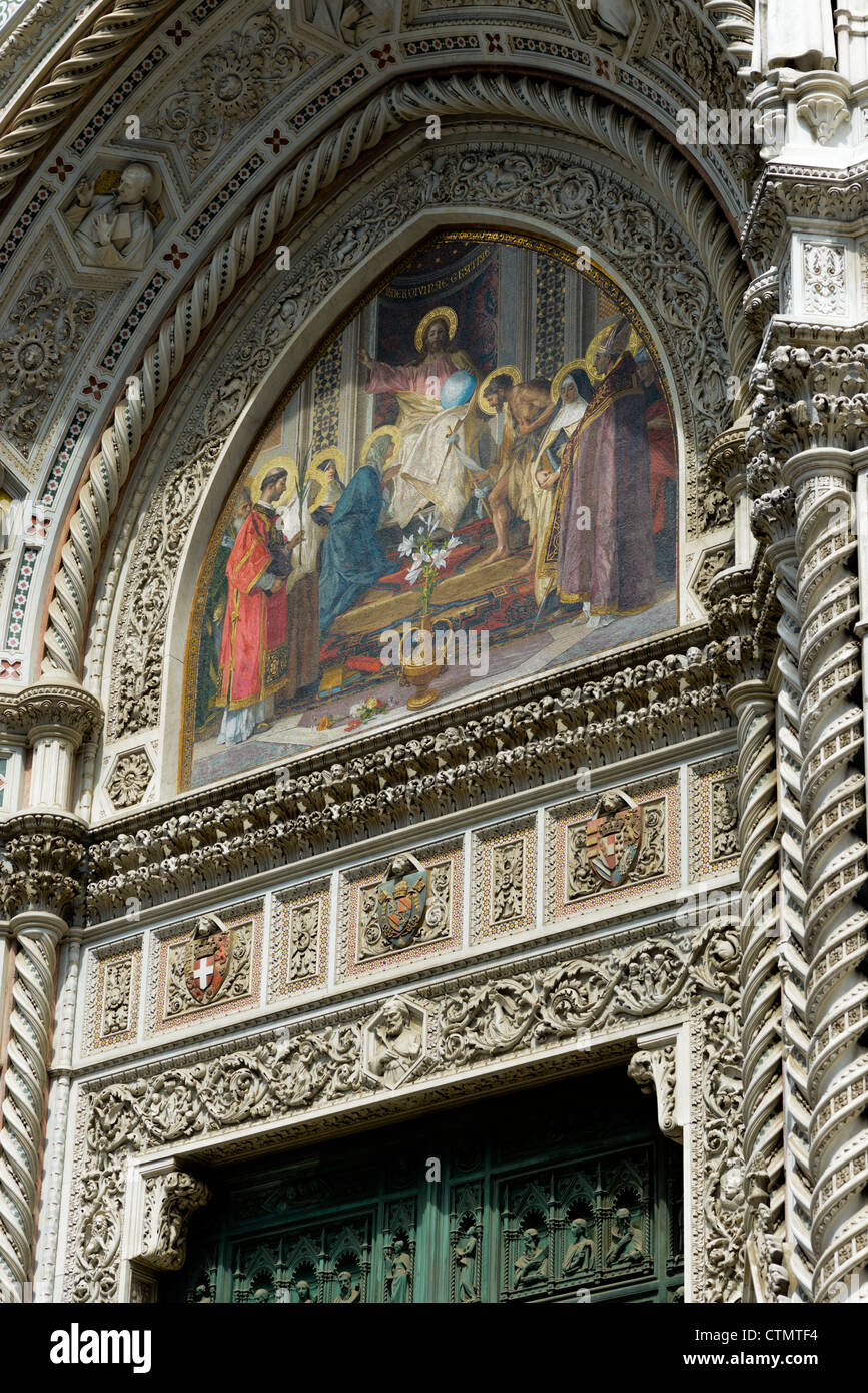 Mosaic above main door of the Duomo, Florence, Italy, Europe - Stock Image