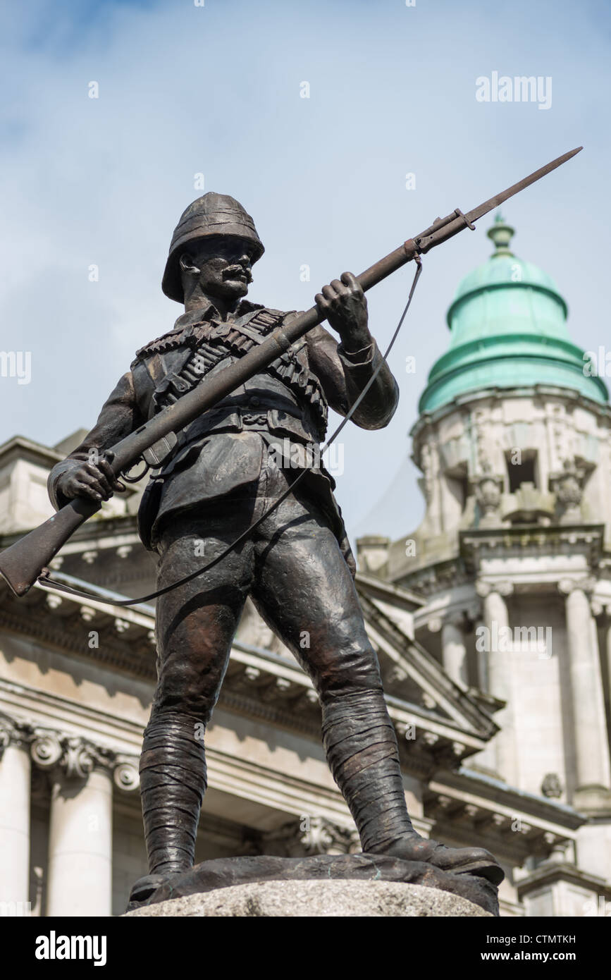 The Anglo-Boer war memorial stands in the grounds of the City Hall, Belfast, Northern Ireland. - Stock Image