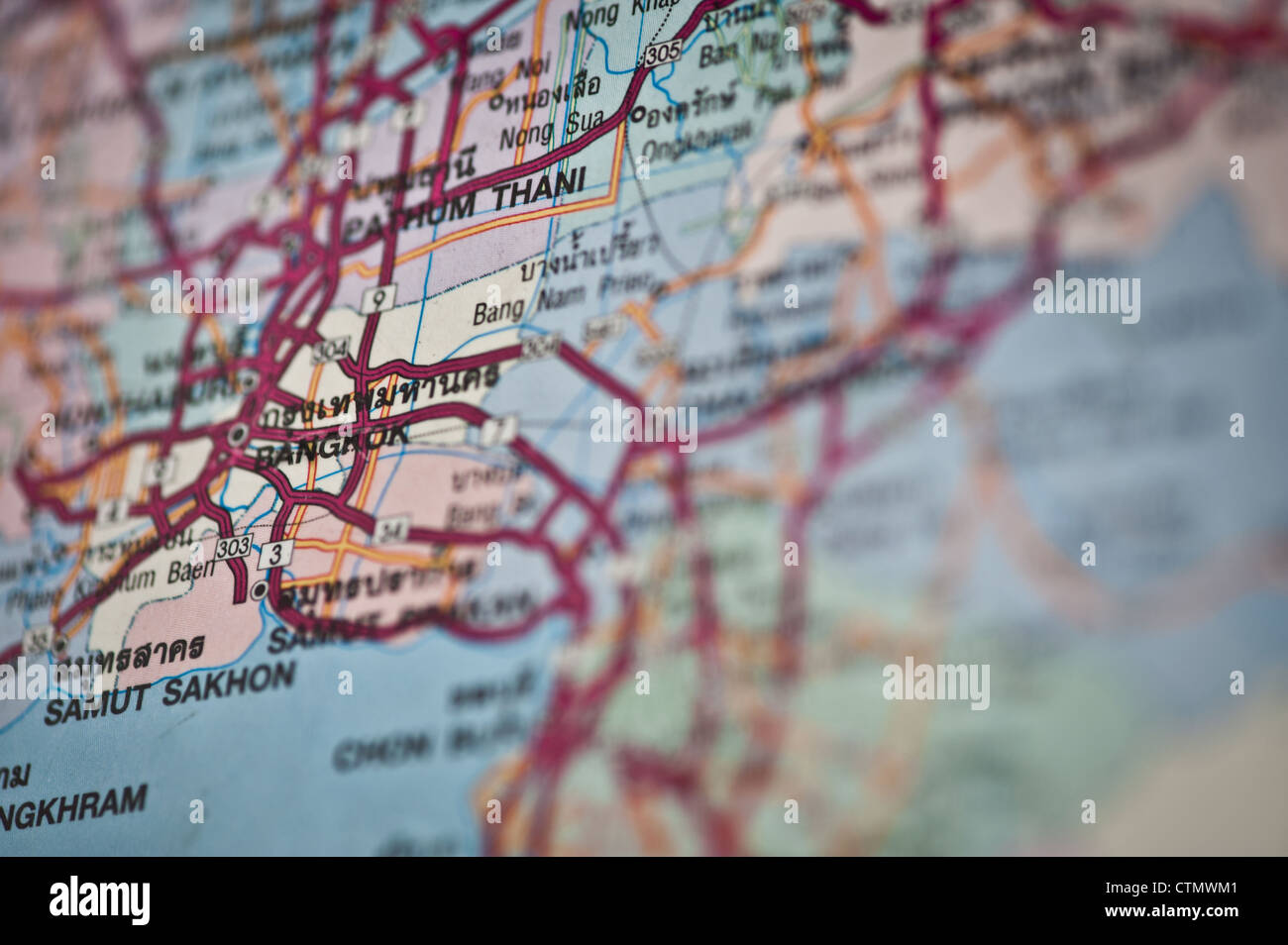 Close up view of map of Thailand