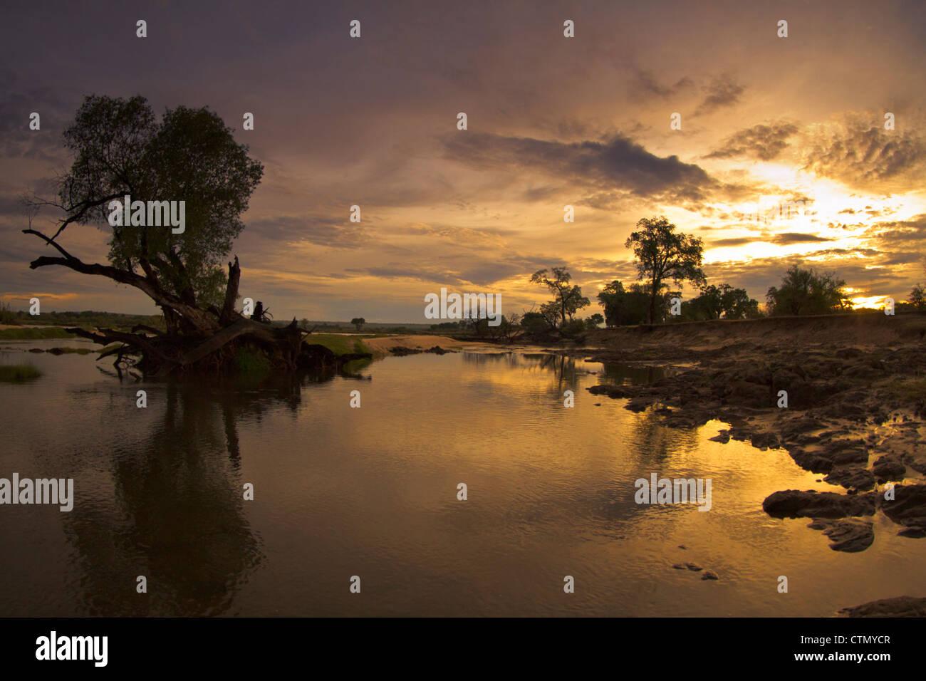 Sunrise, Zamezi National Park, Zambia - Stock Image
