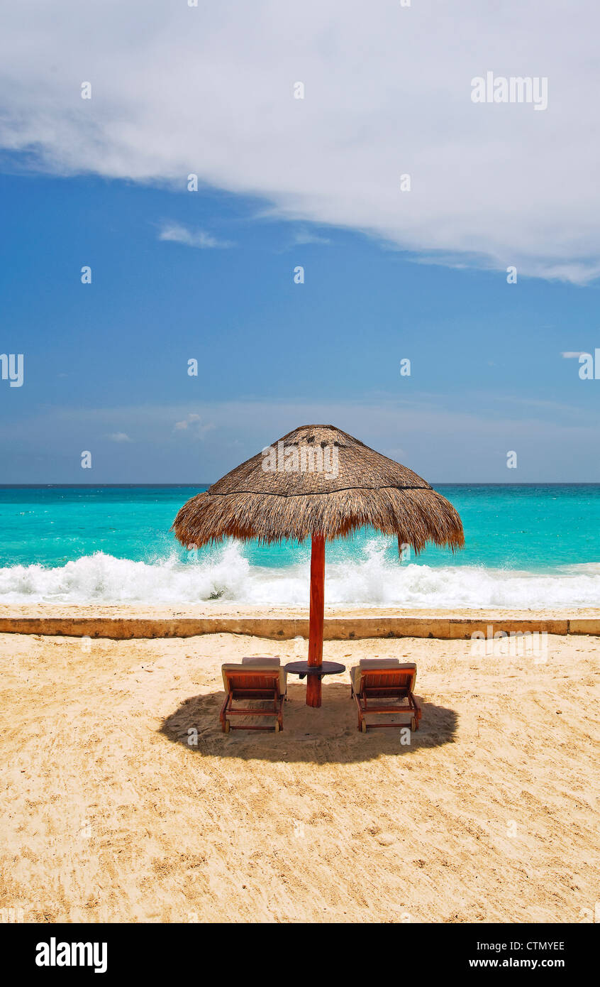 On the beach in Cancun, Mexico - Stock Image