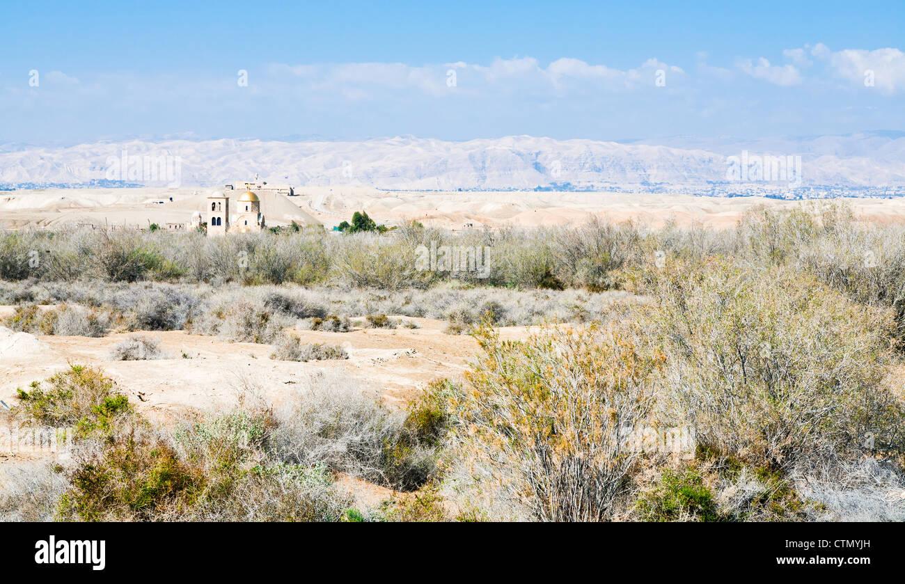 view on St.John church in wilderness lands of Palestine, Jordan - Stock Image