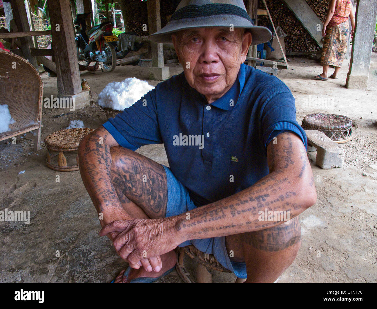 Tai Lu 'trouser' tattoos in Northern Laos. The Sak Yan (protection tattoos) tradition in Laos is much diminished. Stock Photo