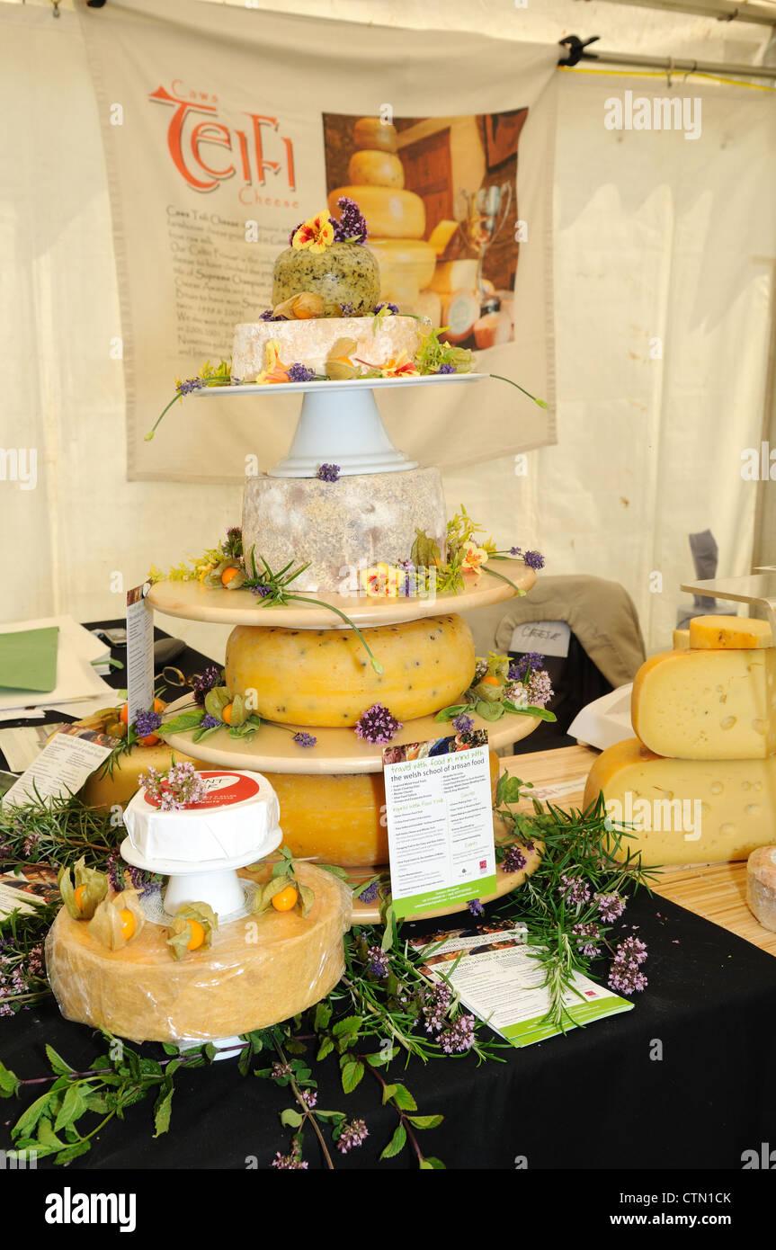 A display of Teifi  Farmhouse  Welsh  Artisan Cheese at a food fair in Pembrokeshire Wales Cymru UK GB - Stock Image