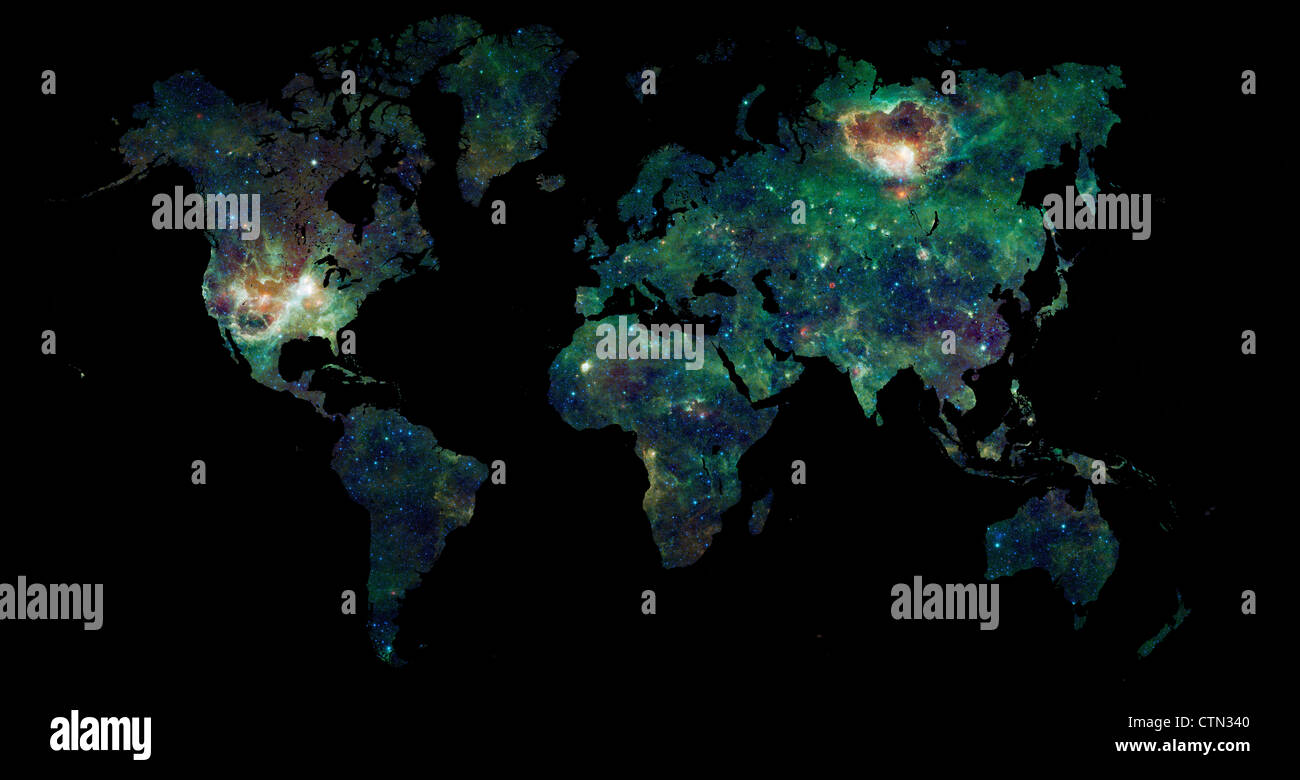World map over black with a galaxy filling the map of earth science world map over black with a galaxy filling the map of earth science and space exploration concept gumiabroncs Images