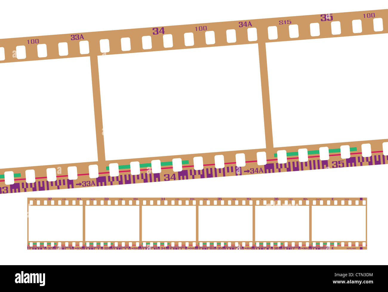 film strip, with realistic negative color. Continuous frames Stock ...