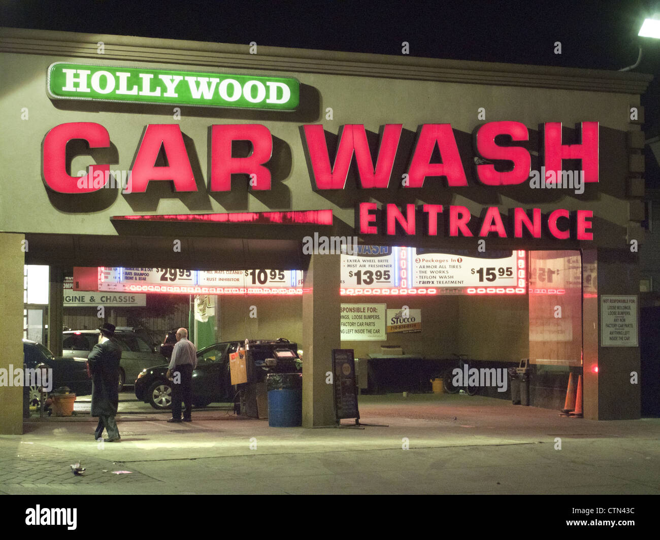 24 hour Hollywood Car Wash at Church and Coney Island Avenues in Brooklyn, NY. Stock Photo