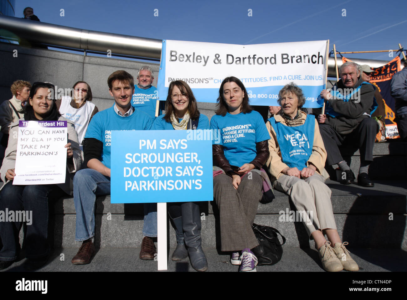 Hardest Hit Campaign, protest against welfare reform cutbacks to disabled people, outside City Hall London SE1 England - Stock Image
