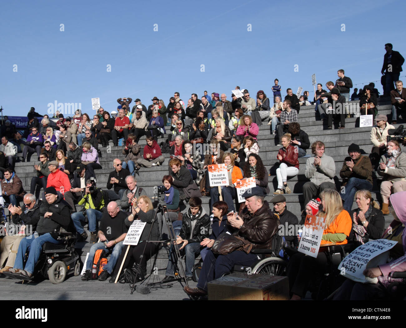 Hardest Hit Campaign 2011, with people protesting against welfare reform cutbacks to disabled people, outside City - Stock Image