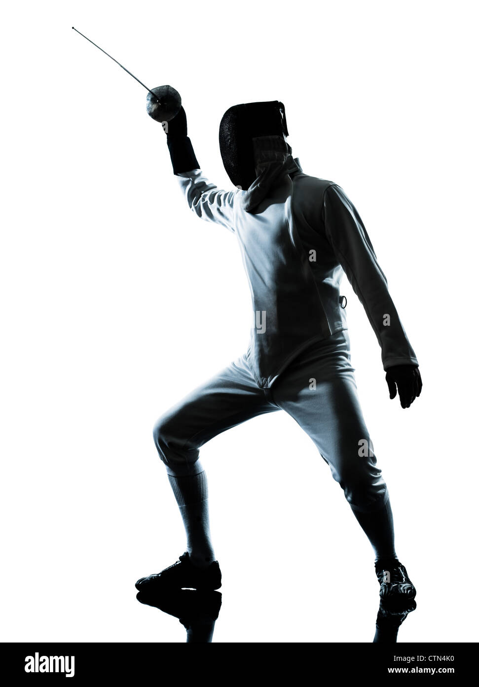 one man fencing silhouette in studio isolated on white background Stock Photo