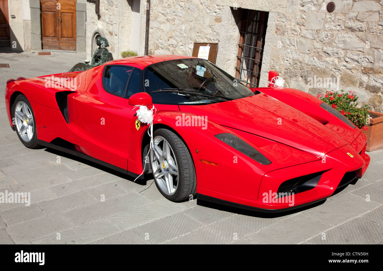 Ferrari Enzo In Tuscan Village In Italy Where It Was Being Used For A Stock Photo Alamy