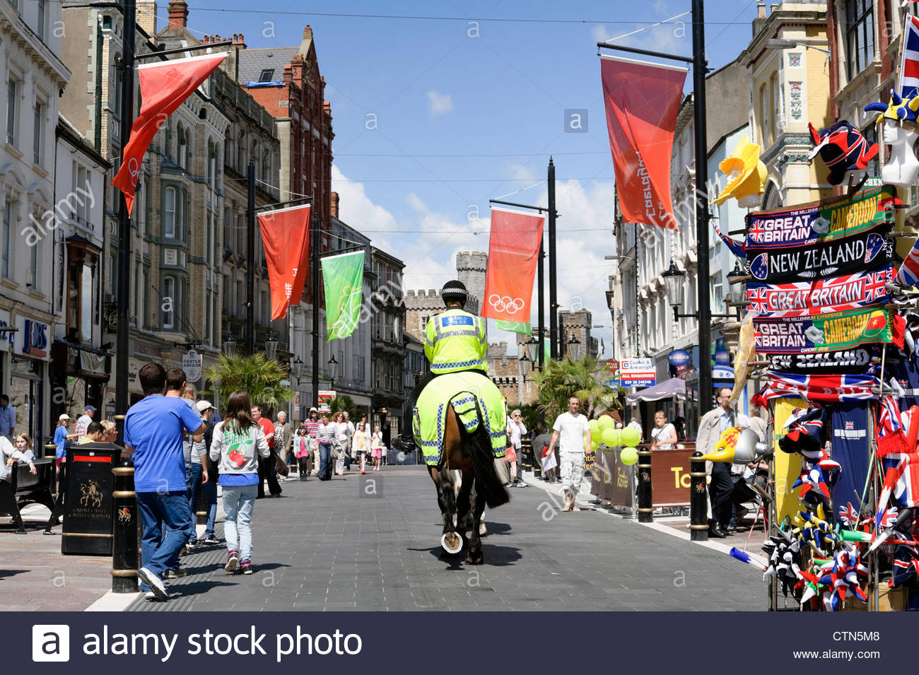 Police horse in Cardiff City Centre, South Wales, UK. - Stock Image