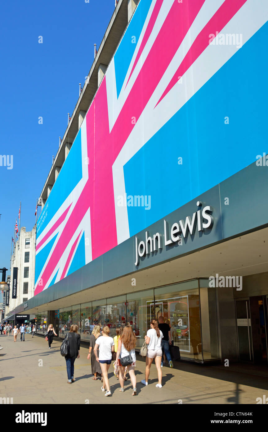 John Lewis department store in Oxford Street wrapped in a giant sized Union Flag to promote the shops status during - Stock Image