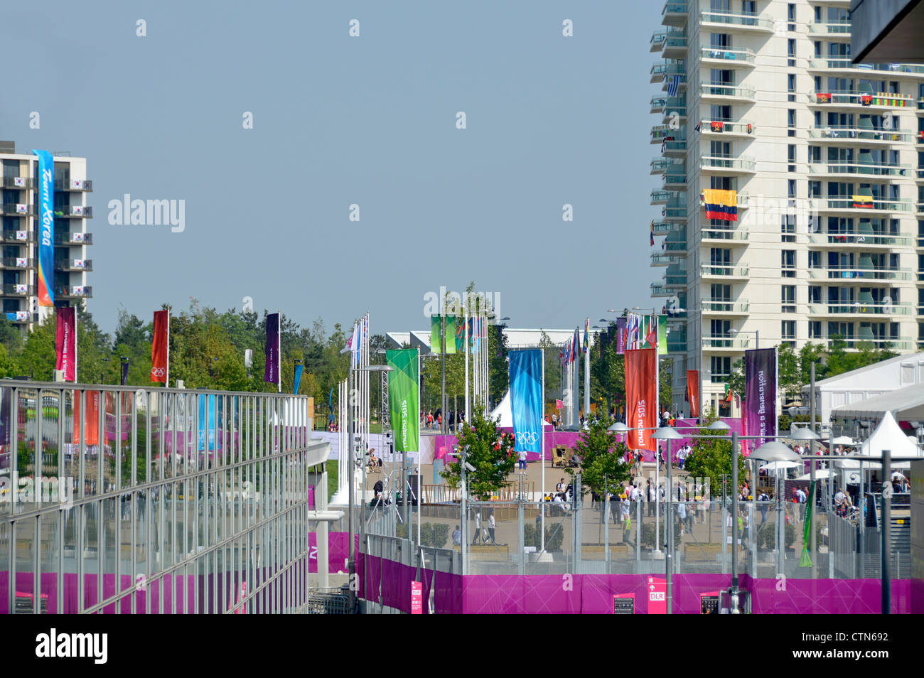 Athletes village and some accomodation blocks seen beyond security fencing at the London 2012 Olympic Park EDITORIAL - Stock Image