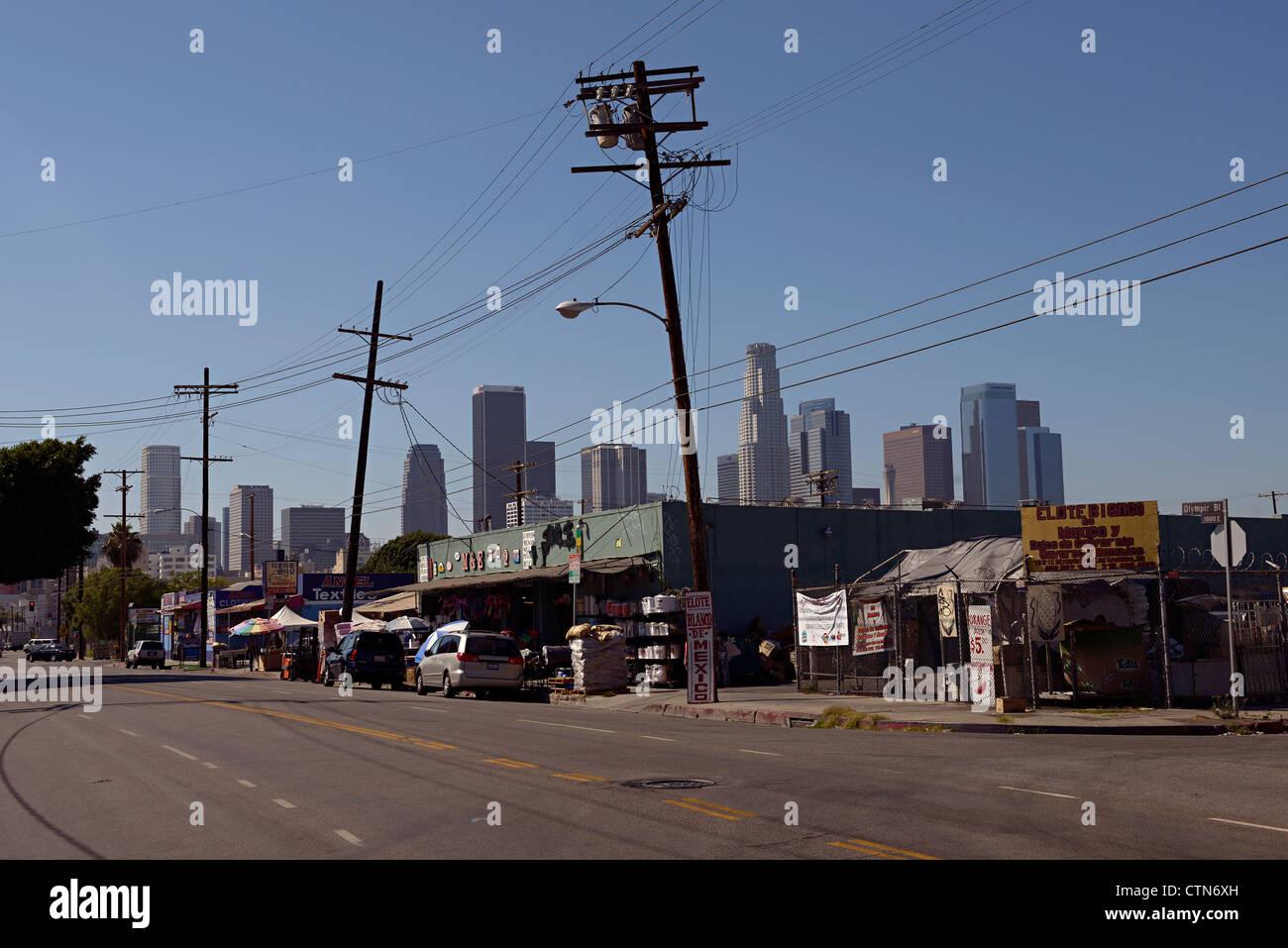 downtown la skyline - Stock Image