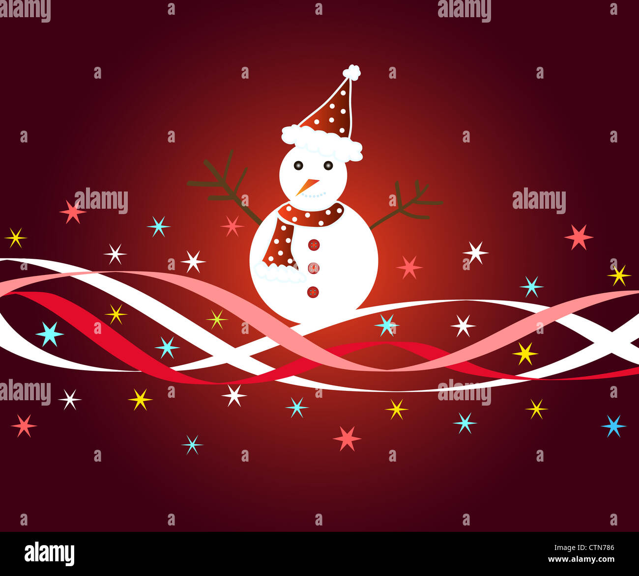 Snowman with stars and ribbons on red Stock Photo