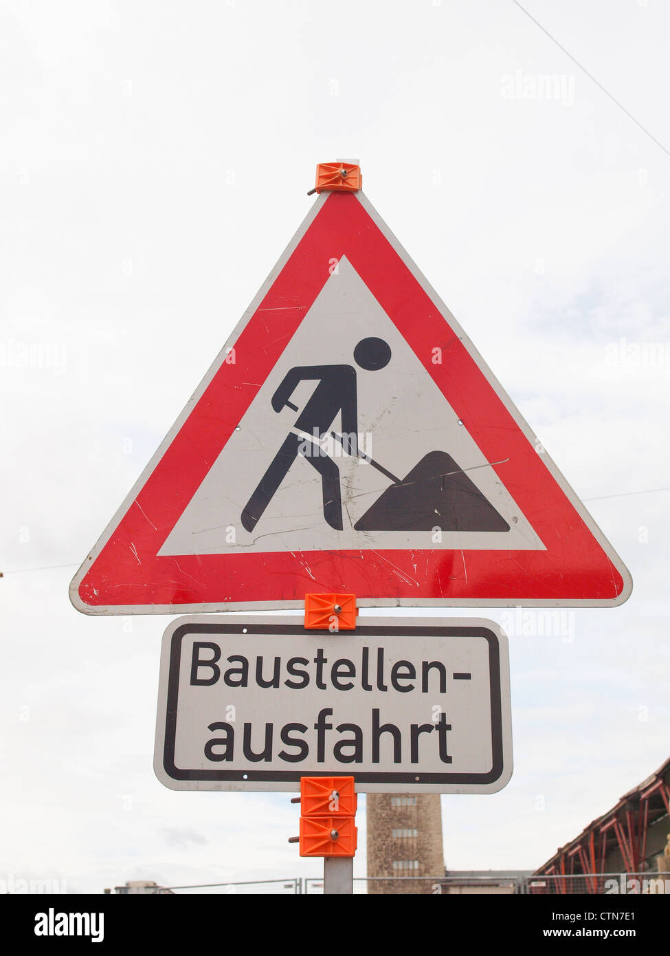 Road works sign - Stock Image