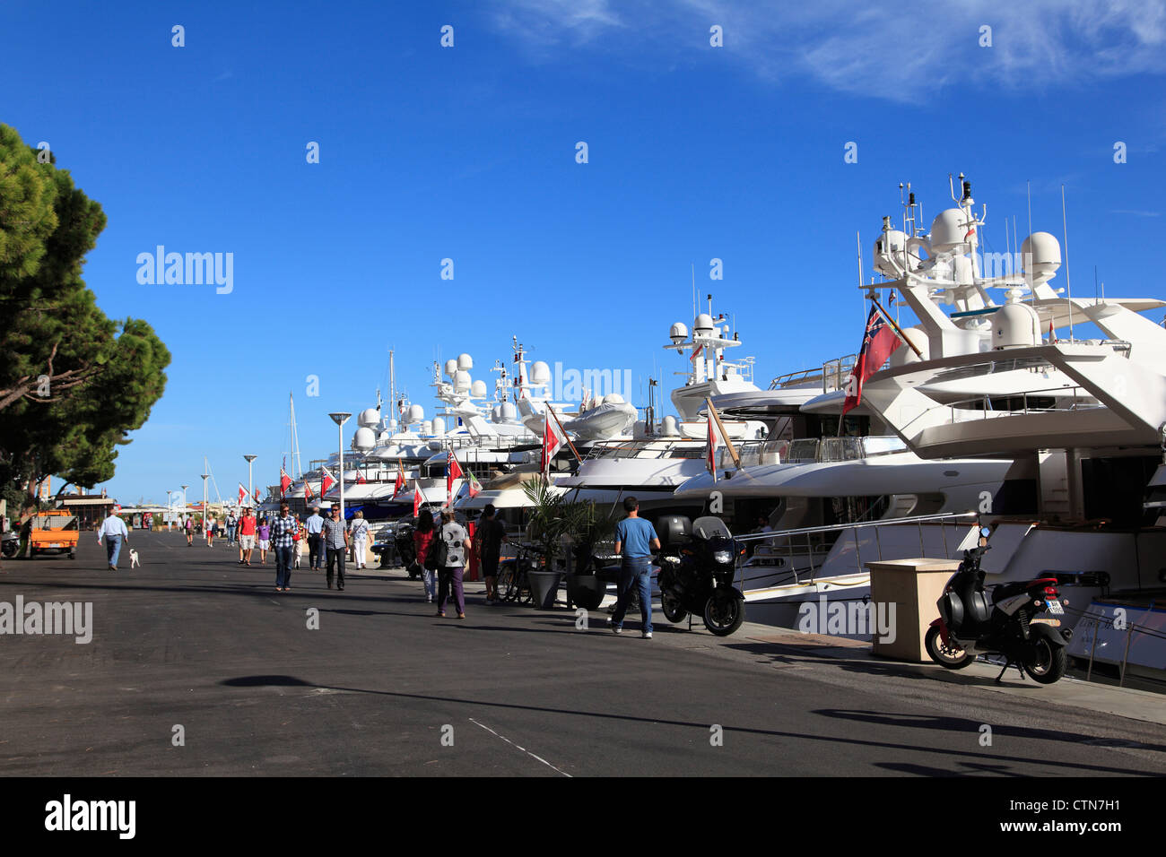 Yachts, Port Hercule, Harbor, Monte Carlo, Monaco, Cote d Azur, Mediterranean, Europe - Stock Image