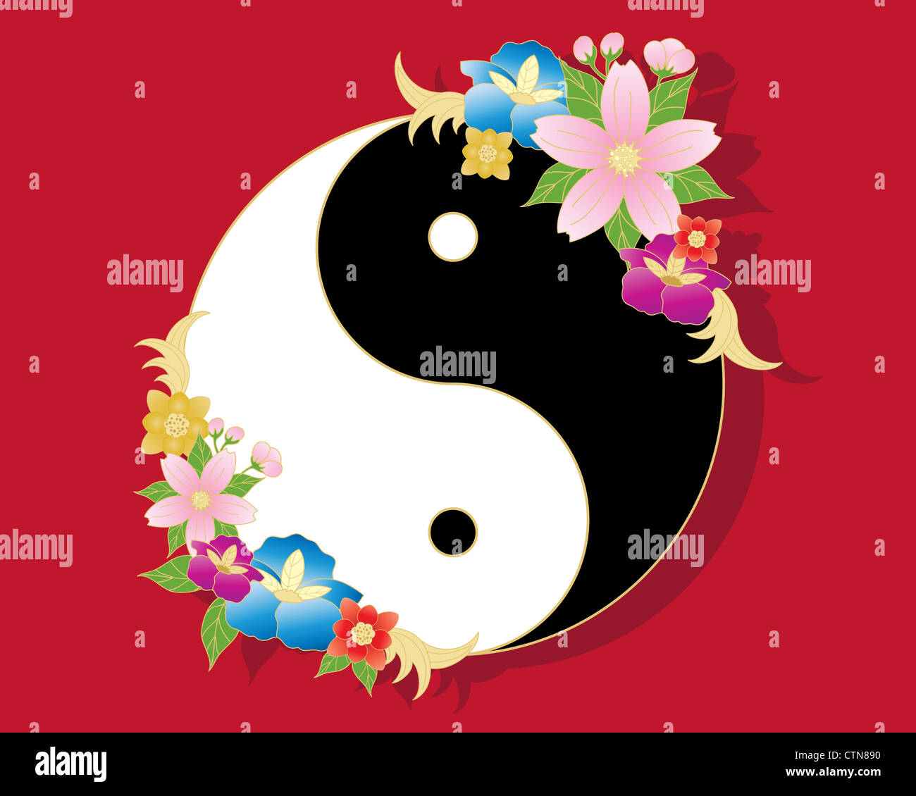 An Illustration Of A Chinese Yin Yang Symbol In Black And White With