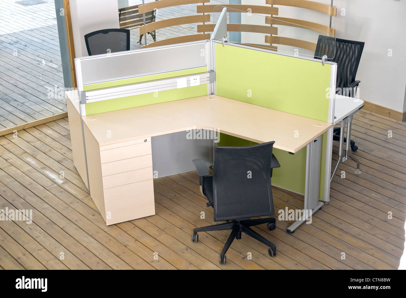 office desk cubicle. Office Desks And Black Chairs Cubicle Set View From Top Over Wood Flooring Desk N