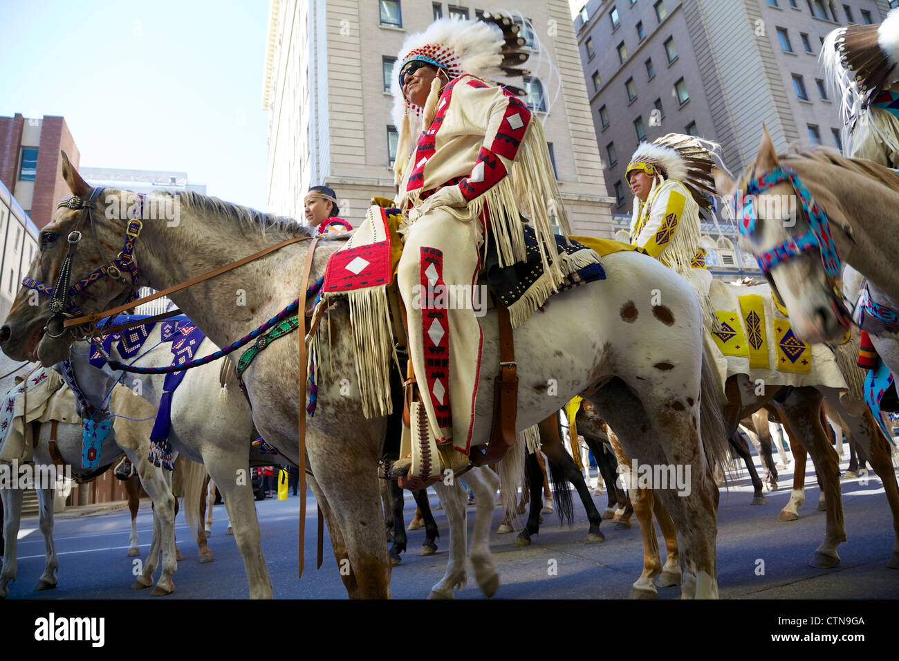 Old times rig procession in downtown Calgary, Alberta - Stock Image