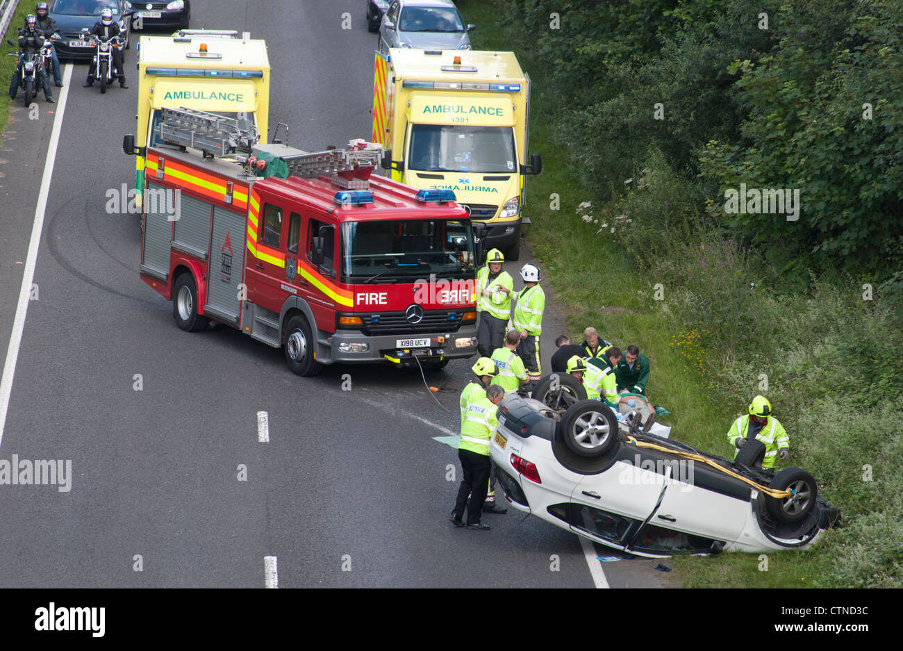 Accident scene on the A30 dual carriageway in Cornwall, where a car ...