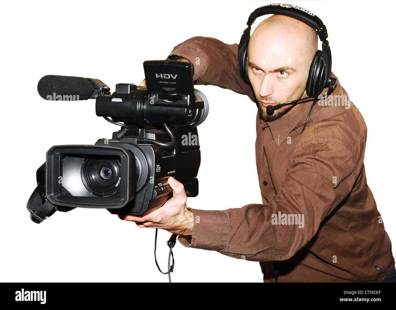 image with a television cameraman working with camera - Stock Image